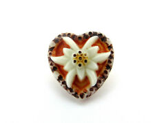 UNIQUE Vintage Hand Painted Pressed Glass Heart Sewing Button Orange White Brown