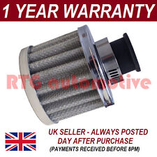 12mm AIR OIL CRANK CASE BREATHER FILTER FITS MOST VEHICLES SILVER ROUND