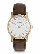 Bulova Men's Gold Finish Wristwatch with Leather Strap 96A106