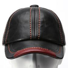 Man Black Genuine Leather Baseball Cap Hat Outdoor Camping Hiking Fishing