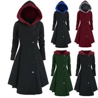 Womens Winter Warm Long Coat Hooded Button Trench Jacket Ladies Outwear Peacoat