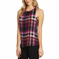 VINCE CAMUTO NEW Women's Plaid Sleeveless Blouse Shirt Top TEDO
