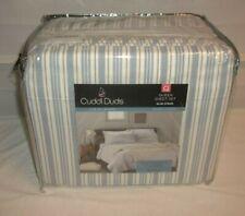 Cuddl Duds Blue Stripe Cotton Heavyweight Flannel Queen Sheet Set $89 BNIP