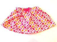 Gymboree 3T Skirt Skort Orange Pink White Geometric Print Spring Girls EUC