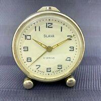 Vintage Mechanical Alarm Clock Slava Russia Russian USSR Soviet 1960s