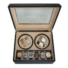 Automatic Watch Winder Box Storage Display Case Rotation 4 + 6 Black Leather New