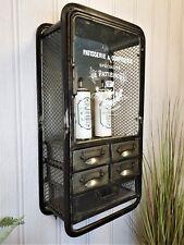Vintage Industrial metal wall storage drawer unit glazed cupboard bathroom