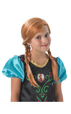 Frozen Anna Wig Girls Plait Fairy Tale Disney Princess Fancy Dress Costume