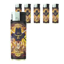 Butane Refillable Electronic Gas Lighter Set of 5 Skull Design-012