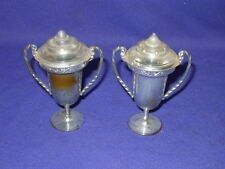 "Vintage Silver Plastic Trophy Cup Salt & Pepper Shaker Set Circa 1960s.3 1/4"""