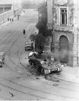 B&W WW2 Photo WWII M4 Sherman Tank Burning US Army World War Two D-Day France