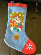 Cute Blue and Red Christmas Sock Stocking with Snowman