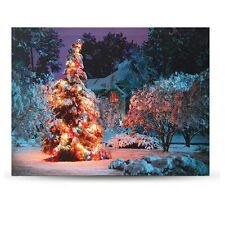40 x 30cm  LED Christmas Snowy House Front Tree Xmas Canvas Print Wall Art