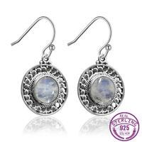 Vintage 925 Silver Round Natural Moonstone Drop Dangle Hook Earrings Wholesale
