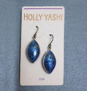 NOS Holly Yashi Pierced Earrings 2-Tone Blue Niobium Pointed Oval Dangle #7073