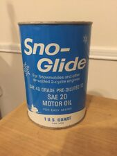 Humble Oil Co SNO GLIDE 2 Cycle Engine Snowmobile Oil Quart Metal Can Qt Full