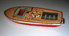Tin toy boat Nomura Japan TN SEA QUEEN No 16 antique wind toy
