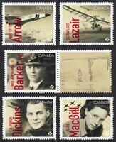 CANADIANS IN FLIGHT = set of 5 + label = from Minisheet MNH-VF Canada 2019