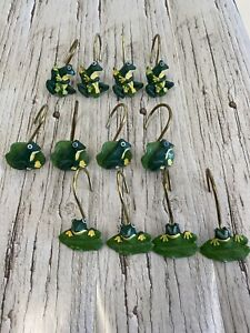 Set of 12 Resin Green Frog On Lilly Pad Shower Curtain Hooks- 3 Different Poses