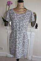 The Kooples Black Grey White Floral Pencil Dress Short Sleeve Large L 14 12 M !!