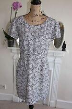 The Kooples Noir Gris Blanc Floral Crayon Robe manches courtes gros L 14 12 M!!!