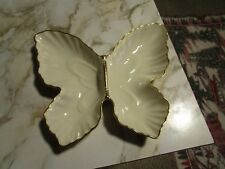 Lenox Butterfly Dish Cream with 24K Gold Hand painted Trim Divided Made in Usa