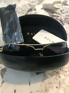 Ralph Lauren Women Aviator Sunglasses Black with Gold Frame Pre-Owned