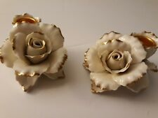 Avon 2005 Winter Rose Porcelin Candle Holders (2) Ivory/Gold Trim