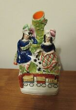 Antique Staffordshire children with dog and train spill vase 19th