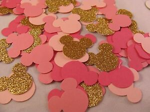 """Disney Mickey Mouse Inspired Gold Shades of Pink Confetti 1"""" Paper Party Decor"""