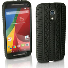 Black Tyre Silicone Gel Skin Case for Motorola Moto G 2 Gen XT1068 Rubber Cover