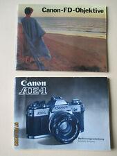 Canon AE-1 Bedienungsanleitung 1977 + Broschüre Canon FD Objektive 1977 deutsch