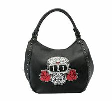 Rock Rebel sugar skull Roses Black Hobo Purse Day of the Dead punk