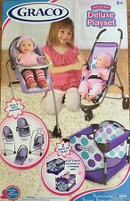 Graco Just Like Mom DELUXE DOLL PLAYSET Stroller, Pack 'n Play, Highchair Purple
