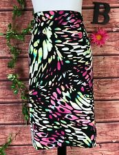 Worthington Skirt size Extra Large Pink Black Green Straight Pencil Stretch Knee