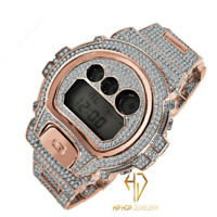Casio G-Shock Custom DW 6900-Diverso Rose Gold 2 Tone Finish Simulated Diamonds
