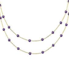 14K Oro Amarillo Amatistas por Yardas Piedra Preciosa Collar 91.4cm