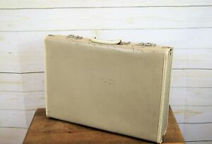 Vintage Hand Held Taupe Briefcase Attaché Case Overnight Weekend Bag Luggage