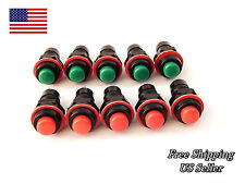 10 NEW LOT RED & CREEN 10MM MAINTAINED PUSH BUTTON SWITCH LOT MINI USA SELLER
