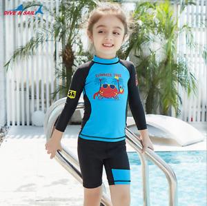 Boys Girls Dive Surf Beach Sunsuit Rash Guard Long Sleeve Shirt Tops +Shorts Set