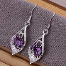 Crystal Drop Dangle Charm Earrings #E30 Womens 925 Sterling Silver Purple Cz