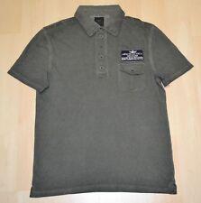 Aeronautica Militare Dark Khaki Green Acid Washed Polo Shirt Size S CLEARANCE
