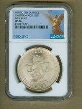 1968-Mo Mexico City Olympics $25 Pesos Even Rings Silver Coin NGC MS66