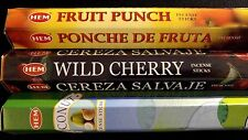 FRUIT PUNCH Wild Cherry Coconut 60 HEM Incense Sticks 3 Scent Sampler Gift Set
