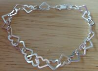 "7.5"" Sterling Silver Heart Shaped flat Link 10x8mm Charm Bracelet Lobster Clasp"