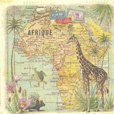 Lot de 4 Serviettes en papier Voyage en Afrique Decoupage Collage Decopatch
