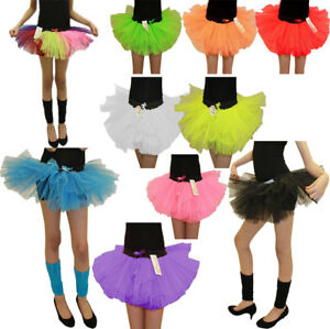 Girls 3 Layer Neon 80s Tutu Skirt Kids Mini Fancy Dance Party Skirt Outfit