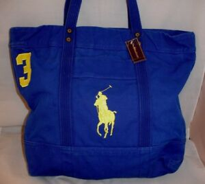 POLO RALPH LAUREN Blue Canvas Large Pony Zippered Tote Bag $125 New
