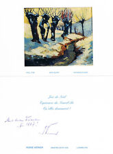 "Luxembourg PM Pierre Werner 1913-2002 autograph signed 4""x6"" new year card"
