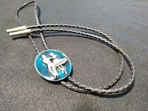 Siskiyou Blue Enamel Cowboy Western Bolo Neck Tie Vintage 1987